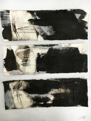 Ohne Titel - Kombinationen, Pigment, Wachs und Acryl auf Papier, 2016