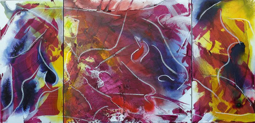 Bewegungen (Triptychon), Acryl, Tusche und Kreide auf Leinwand, 160x80 cm, 2014
