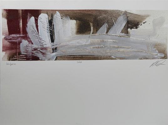 Wurfarm, Pigment und Acryl auf Papier, 58x76 cm, 2016