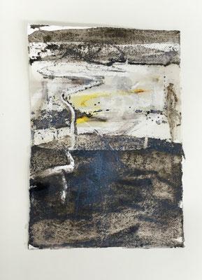 Ohne Titel, Pigment, Wachs und Acryl auf Papier, 2016