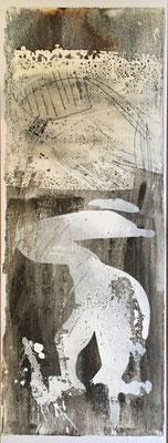 Der Giftzwerg, Pigment, Wachs und Acryl auf Papier, 76x29 cm, 2016