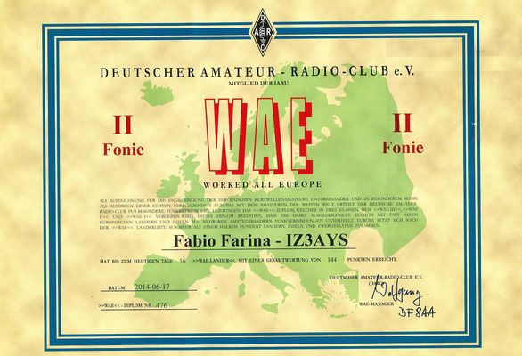 Worked All European Award