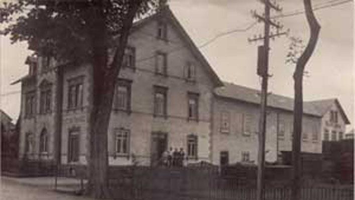 Firmengebäude Sargfabrik Pollmer GmbH damals
