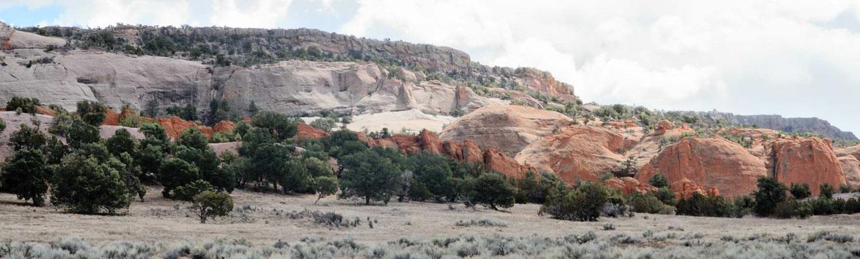 Die Indian Ropad #12 nach Norden geht immer an der Abbruchkante der roten Felsen entlang