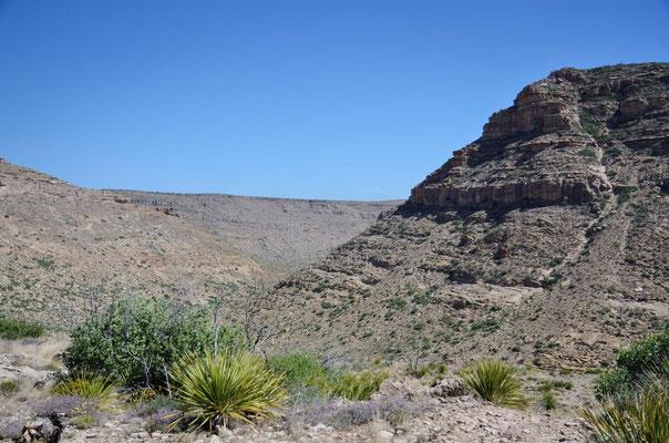 """An der """"Rückseite"""" der Guadelupe Mountains"""