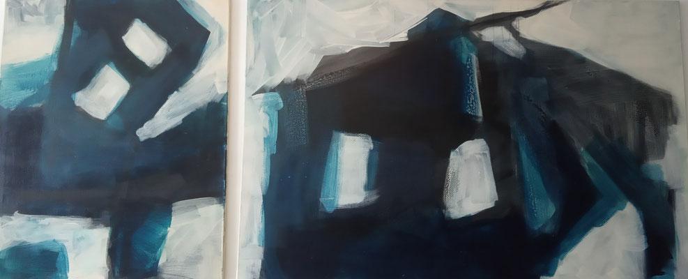 Diptych blue;Leinwand, Mischtechnik mit Acryl, Schellack, Ölkreide und Sepia-Tusche. Format 80cm x 100cm und 155cm x 100cm  2005