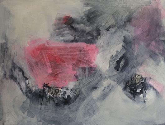 Abstract painting pink; Leinwand, Mischtechnik mit Acryl, Beize, Tusche und Paraffin. Format 165cm x 125cm  2006