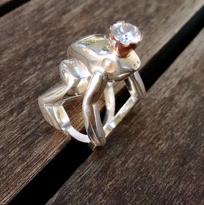 Kikker ring van zilver, in opdracht.
