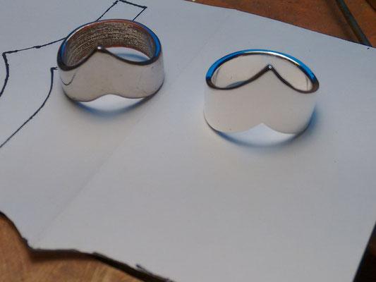 Zilveren ring nagemaakt van onedele ring, in opdracht.
