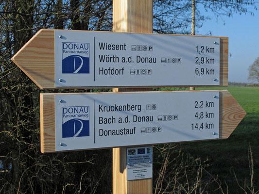 Wegweiser Donau-Panoramaweg, Foto: Michael Körner