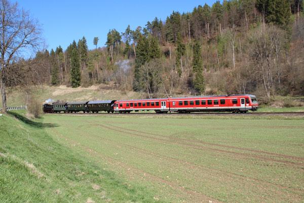 Kurz nach Marbach mit 628 563.