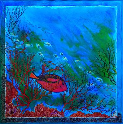 Caraïbes - Aquarelle - 40X40 cm- Disponible