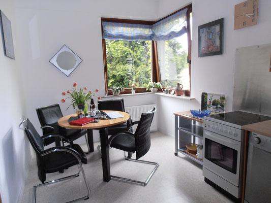 Küche mit Esstisch und Blick ins Grüne