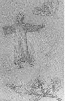 Louis Gallait - schets voor 'De Pest van Doornik van 1092' - Kan bisschop Radboud II de centrale figuur zijn? Publiek domein; creatiedatum schets voor 1882. Uit 'La Gloire d'un Romantique' van Serge Le Bailly de Tilleghem (1987).