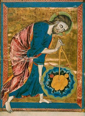 Anoniem - ca. 1220-1230 - God de Geometer - God als architect van het Universum - Bestand van Wikimedia Commons, publiek domein.