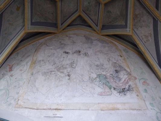 De Tuin van Getsemane, de Hof van Olijven, boven de deur rechts van de grote nis in de Heilig-Grafkapel.