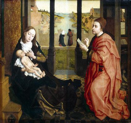 Naar Rogier van de Weyden (ca. 1440). De Heilige Lucas schildert de Madonna - Hermitage Sint-Petersburg - Publiek Domein - via Wikimedia Commons