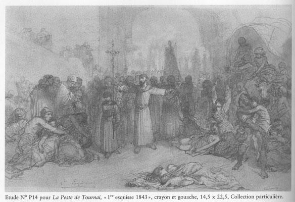Louis Gallait - voorstudie uit 1843 voor 'De Pest van Doornik van 1092'. Publiek domein gezien de creatiedatum van de voorstudie. Uit 'La Gloire d'un Romantique' van Serge Le Bailly de Tilleghem (1987).