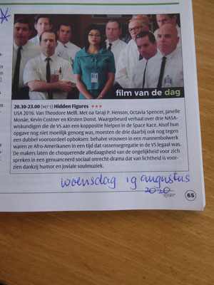 19 augustus 2020 - Aankondiging van de film 'Hidden Figures' in de VPRO-Gids