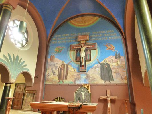 NEBO - De paterskapel. De Redemptoristen zijn reeds vertrokken, dus is de kapel onttakeld. Beschildering: Piet Gerrits. Foto: Thea-Warrior, 13 juni 2015.