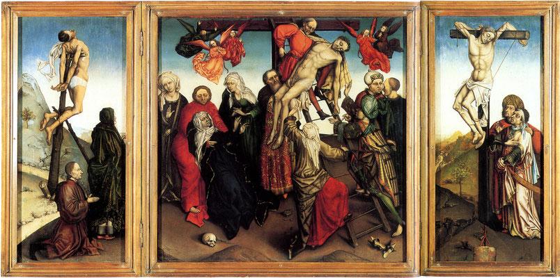 Triptiek 'De kruisafname' (ca. 1448-1465) - Kopie naar Robert Campin. Publiek domein via Wikimedia Commons. Walker Art Gallery - Liverpool.