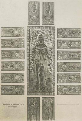 Tekening koperen platen graftombe Catharina van Bourbon - Regionaal Archief Nijmegen - Publiek Domein - F46010 - 1900