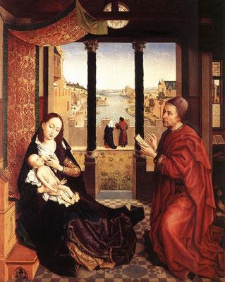 Naar Rogier van der Weyden (ca. 1450). De Heilige Lucas schildert de Madonna - Alte Pinakothek München - Publiek Domein - via Wikimedia Commons