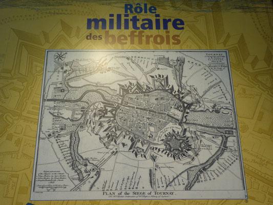 Doornik - poster in het Belfort - de militaire rol van de belforten
