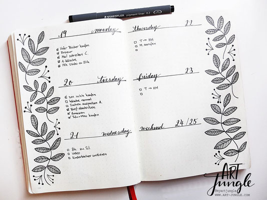 bullet journal weekly layout idea ideen botanical