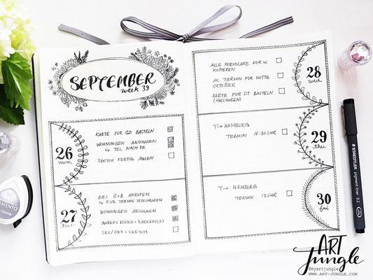 bullet journal weekly layout idea ideen September