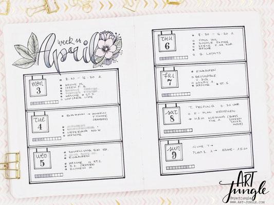 bullet journal weekly layout idea ideen April
