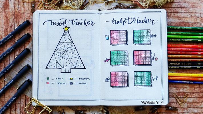 Mood Tracker Habit Tracker Ideen Beispiel Regenschirm Dezember Bullet Journal