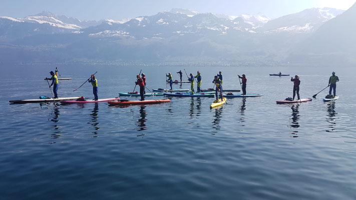 Gemeinsame *happy paddling SUP Tour auf dem Vierwaldstättersee