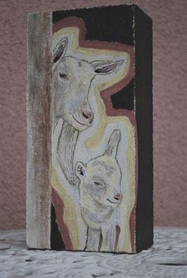 Ziegen auf Kalksandstein