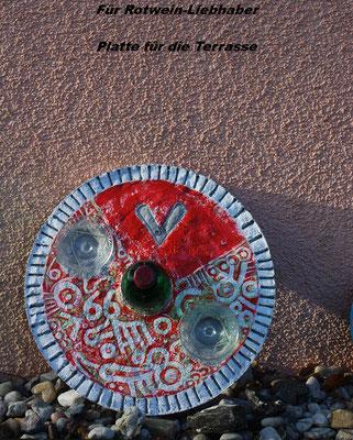 Rotweinplatte - Deko für Weinliebhaber