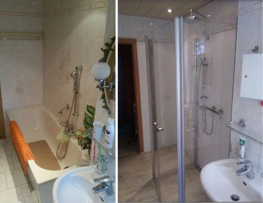 Einbau einer klappbaren Duschabtrennung zur Platzersparnis