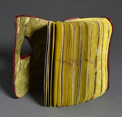 Remembering, Book Two (2019) mixed media on handmade and linen paper, wet-formed leather covers, unique, 4.5 x 3 x 5 inches