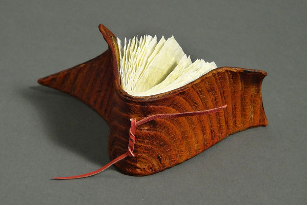 Friend Wish #2 (2018) crinkled paper, wet-formed leather covers, unique, 2.5 x 4 x 1.75 inches