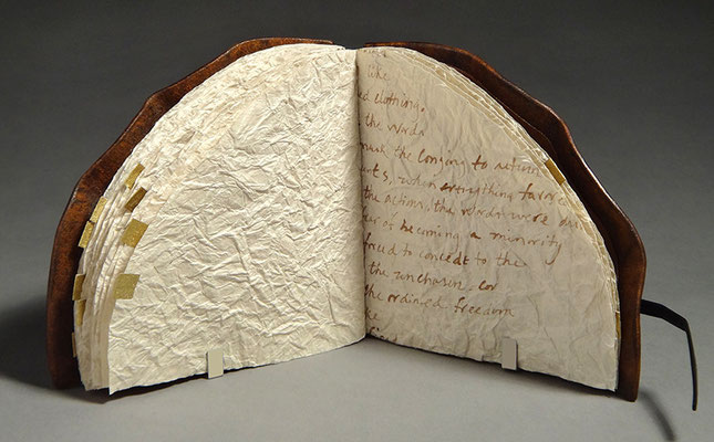 Yearning, Book Two (2016) handwriting on crinkled paper, wet-formed leather covers, unique, 4.25 x 7.5 x 4 inches