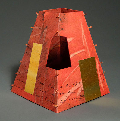Sanctuary One (2017) pulp painted handmade paper with paste paint and watercolor, tea-chest paper, wire-edge binding, unique, 8 x 7 x 7 inches, Baylor University Libraries