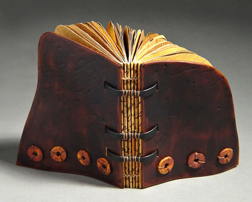 Luck, Book Three (2016) mixed media on handmade and tea chest papers, wet-formed leather covers, unique, 4.5 x 6.5 x 4 inches