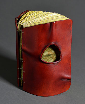 Remembering, Book Two (2019) mixed media on handmade and linen paper, wet-formed leather covers, unique, 4.5 x 3 x 2 inches