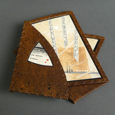 The Absence of Proof (2019) binder's board, collage, thread, unique, 6.5 x 15 x 3.5 inches (7 x 6.5 inches when closed), Topeka and Shawnee County Public Library
