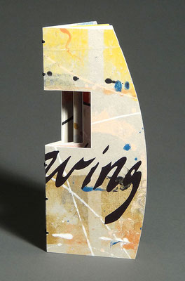 Allowing (2017) pulp painted handmade paper with collage and handwriting, wire-edge binding, unique, 9.25 x 8.25 x 8.25 inches