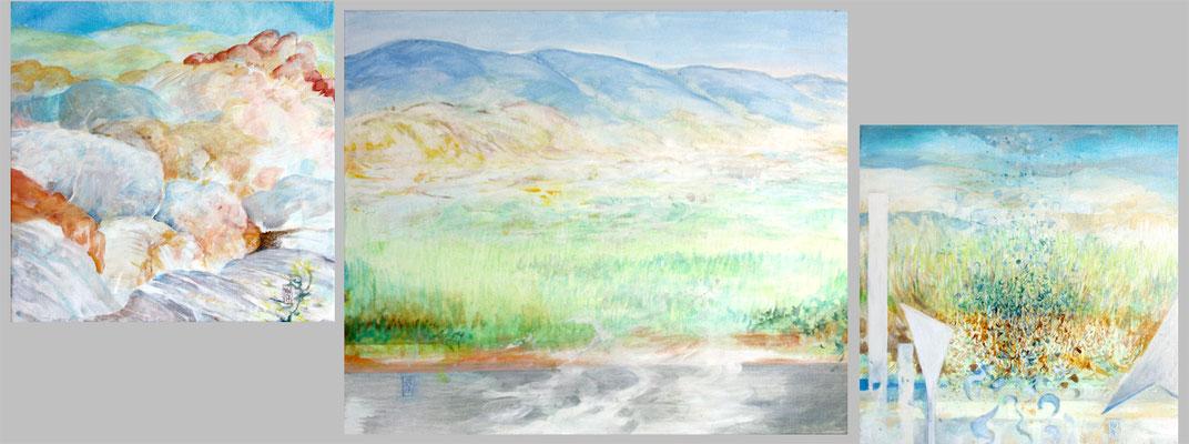 CIRCULATION - La Tuillière - 2017  -  50x140 -  ocres, pigments et liant vinylique
