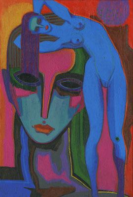 rostro y mujer azul