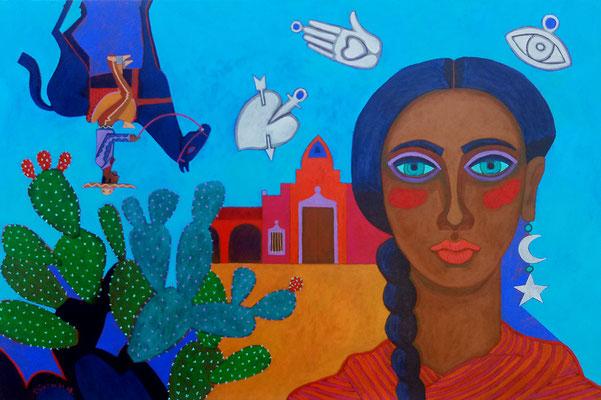 mujer con charro y milagritos