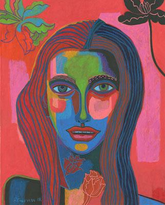 mujer en rosa