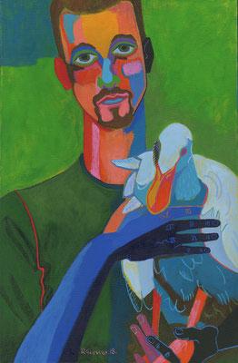 hombre con pato