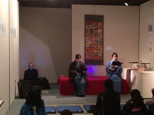 怪談朗読会の様子。オニの話で、しかも地元京都の話です。とてもよい雰囲気でした。